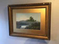 Antique Oil Painting River Waterfall  Landscape Unsigned Framed