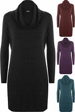 New Womens Plus Cowl Neck Knit Long Sleeve Baggy Stretch Ladies Dress Top 16-22