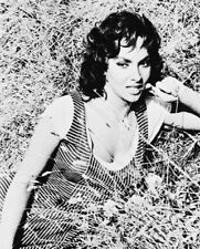 GINA LOLLOBRIGIDA BUSTY B&W IN HAY BARN PHOTO OR POSTER