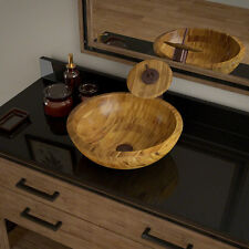 MR Direct 890 Bamboo Vessel Bathroom Sink, with Oil Rubbed Bronze Waterfall Vess