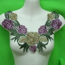 1 Rose Flower Floral Collar Sew Patch Cute Applique Badge Embroidered Bust Dress