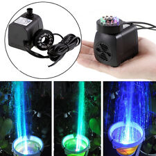 270GPH Submersible Water Pump Aquarium Hydroponics Pond Fountain 15W LED Light