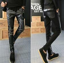 Fashion Mens Personality Slim Fit zipper Skinny Pu Leather Pants Jeans SZ 27-32