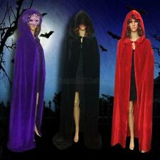 Women's Velvet Hooded Men Gothic Cloak Witch Robe Cape Halloween Cosplay Costume