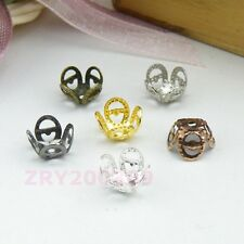 160Pcs Hollow Filigree Bead Caps 8mm Silver/Gold/Bronze/Black etc. R0116