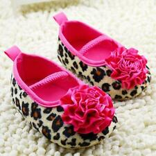 Toddlers Kids Girls Leopard Cotton Soft Sole Prewalkers Flower Crib Shoes  W92