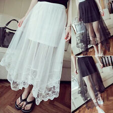 Women See Through Tulle Skirt Gauze Mesh Lace Floral Gothic Long Maxi Dress New