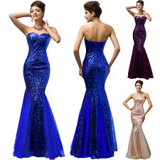 STUNNING Blue Sequined Mermaid Evening Bridesmaid Long Dress Party Prom Gown new