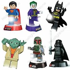 LEGO TORCH NIGHTLIGHTS VARIOUS CHARACTERS KIDS BEDROOM LIGHTING 100% OFFICIAL