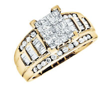 10k Yellow Gold Bridal Baguette Princess Cut Diamonds Wedding Engagement Ring 1c