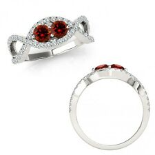 1 Carat Red Diamond 2 Two Stone Infinity Crossover Promise Ring 14K White Gold