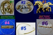 CHOKER PENDANT BROOCH Pin Neck Collar Gold Silver Pl Rodeo Western Horse Jewelry