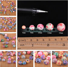 500pcs Mixed Flowers Polymer Fimo Clay Round DIY Finding Loose Beads 6~16mm