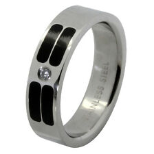 Striped High Polish Stainless Steel Band Eternity Ring Single CZ Engagement 6mm