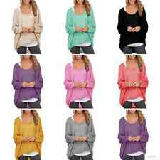 Stylish Womens Long Sleeve Pullover Sweater Oversized Baggy Loose Jumper Tops