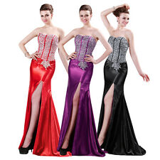 Sexy Silk-Like Ball Gown Evening FORMAL Prom Party Long Mermaid COCKTAIL Dresses