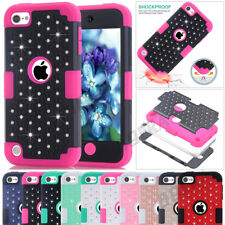 High Impact Bling Crystals Rubber Hybrid Hard Combo Cases For iPod Touch 5 / 6