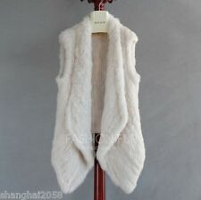 New !100%Real Knitted Rabbit Fur Vest Gilet Waistcoat Coat Jacket Fashion