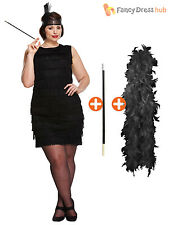 Ladies 1920s Flapper Costume Womens Charleston Gangster Fancy Dress Plus Size