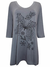 NEW PLUS SIZE Ivans BUTTERFLY Print Stretch Jersey Tunic Top Grey 16 to 30/32