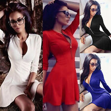 New Women 3/4 Sleeve Zipper Dress Club Party Evening Solid Slim Sexy Mini Dress