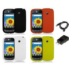 Silicone Rubber Color Gel Skin Case for LG Net10 Optimus Net Phone Charger