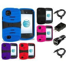 For ZTE Avail 2 Z992 Prelude AT&T Hybrid Heavy Duty Armor Case Stand 2X Chargers