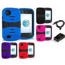 For ZTE Avail 2 Z992 Prelude AT&T Hybrid Heavy Duty Armor Case Stand Charger