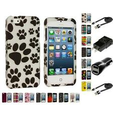 Design Hard Snap-On Rubberized Case Skin Cover for iPhone 5 5G 5th 2X Chargers