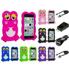 For iPhone 5C Cute Frog Case Silicone Rubber Soft Skin Gel Cover  2X Chargers