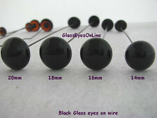1 PAIR 16mm to 24mm Black Glass Eyes on Wire for Teddy Bear, Doll, Sculpture 201
