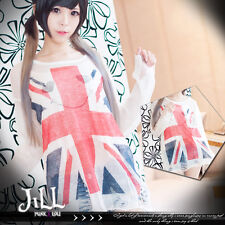 british punk post rock UK flag queen saving distressed thin sweater J2W0003 W