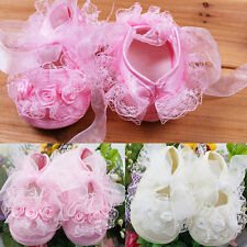New Princess Non-Slip Newborn Baby Toddler Girl Beautiful  Lace Shoes RD
