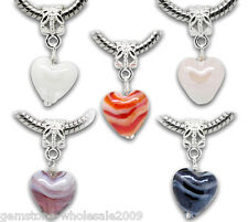 Wholesale Lots Mixed Stripes Glass Heart Dangle Beads Fit Charm Bracelet