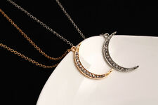 Women Moon Crystal Sweater Chain Necklace Pendant Choker Gold/Silver Color t