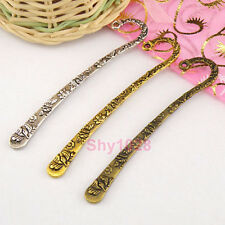 5Pcs Tibetan Silver,Gold,Bronze Flower Charm Hairpin Bookmark 16x80mm M1406