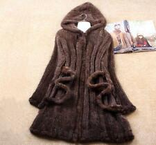 100% Real Knitted Mink Fur Long Coat Outwear Jacket Hoody Wearcoat Tailor-made