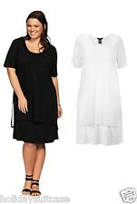 NEW LADIES WOMANS FORMAL LONG TUNIC/ TWIN SET DRESS BLACK PLUS SIZE 16-30