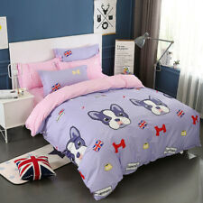 Dogs Duvet Quilt Doona Cover Set  Double Queen King Size Bed Covers 100%Cotton