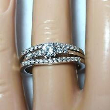 Sterling Silver Wedding set size 7 CZ Round cut Engagement Ring Bridal New w98