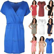 Womens Ladies Tunic Batwing Wrap Cross Jersey Ruched Bodycon Mini Skater Dress
