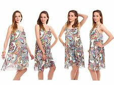 Womens Swing Dress Ladies Sleeveless Strappy Camisole Vest Chiffon Printed Tops