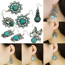 A Pair Fashion Retro Punk Temperament Sapphire Crystal Stone Earrings Ear Stud