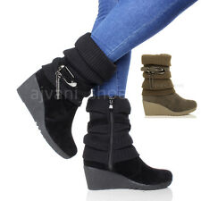 WOMENS LADIES MID HIGH HEEL WEDGE KNITTED SLOUCH WINTER CALF ANKLE BOOTS SIZE
