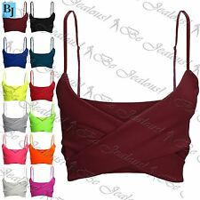 Womens Plain Sleeveless Wrap Cross Bralet Ladies Strappy Cami Bralet Crop Top