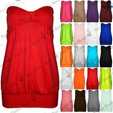 Womens Strapless Boobtube Top Ladies Summer Casual Plus Size Front Knot Bandeau