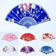 Vintage Folding Silk Pocket Flower Hand Fan Wedding Dance Party Gift Fan 8Colors