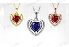 Sterling Silver Double Heart Cubic Zirconia Blue Red Garnet Pendant Necklace