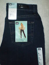 Lee Relaxed Fit Straight Leg At Waist Womens Dark Blue Stretch Denim Jeans New