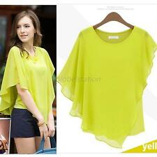 Trendy Women Tee Tops Chiffon Batwing Short Sleeve Shirt Casual Blouse  Summer